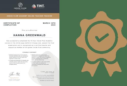 Inside Flow TINT Yoga Academy Certificate