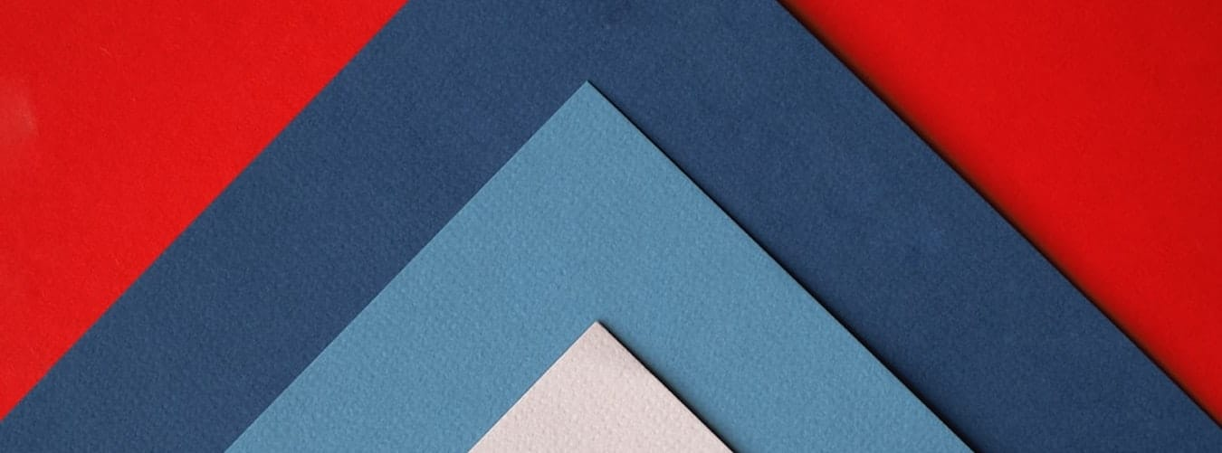 White, blue and red triangles