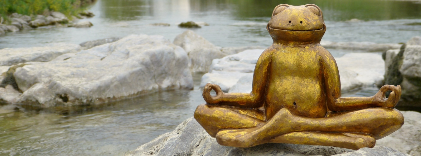 Golden frog figurine in meditative seat on stones in riverbed